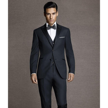 Slim Fit Navy Blue Best Man Groomsman Men's Wedding/Prom 3 Piece Suits Groom Tuxedos