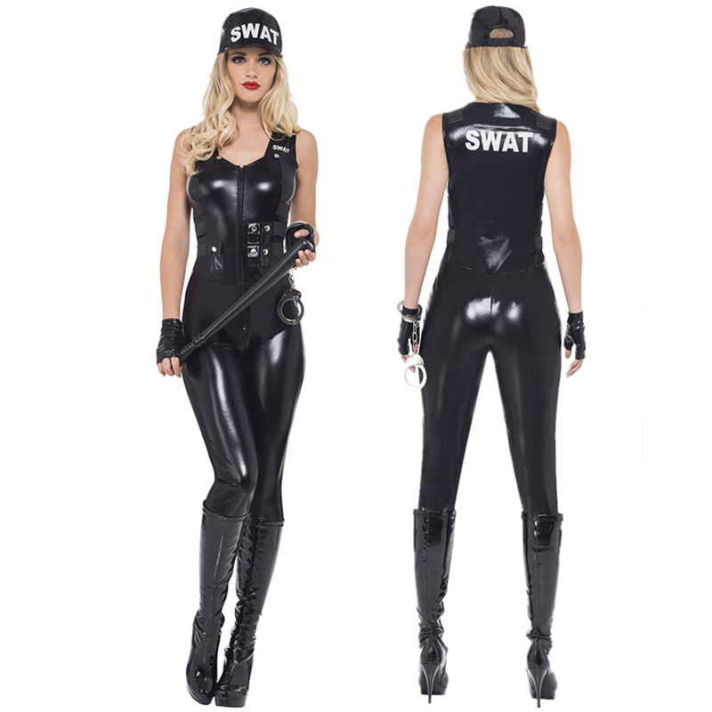 2018 Sexy Women Black PU Leather SWAT Sniper Jumpsuit Halloween Cosplay Police Cop Costume Uniform-in Holidays Costumes from Novelty & Special Use