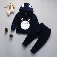 Spring new silver fox velvet hooded clothes Childrens clothing two set sports cartoon children