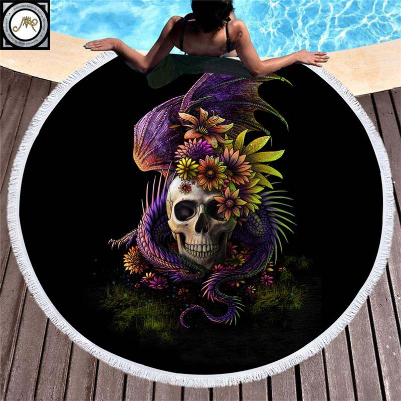 Dragon Flowery Skull by SunimaArt Round Beach Towel Adults Floral Tassel Tapestry Yoga Mat Stylish Toalla Blanket Diameter 150cm