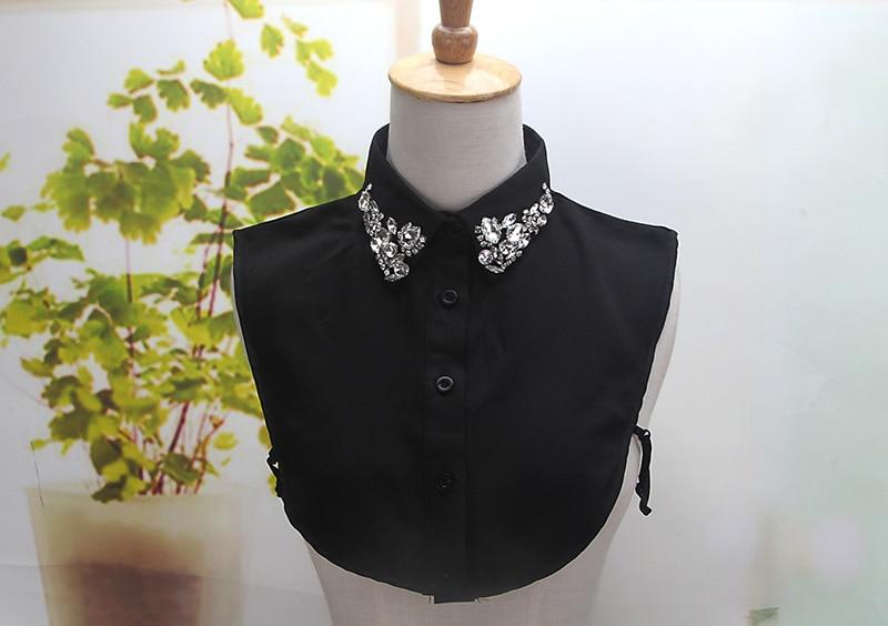 Color Accesorios As Cuello Blanco Pict De Camisa Bordada Algodón Mujer color Negro Picture Decoración Decorativa Falso Sólida Blusa OUgwqp1