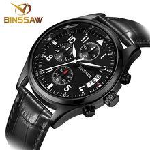 BINSSAW Nueva marca de lujo top reloj luminoso impermeable militar relojes de cuarzo-reloj de cuarzo de cuero de los hombres s del relogio masculino