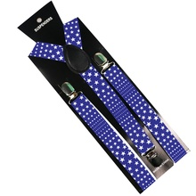 HUOBAO Star Pattern Men Women Clip on Suspenders Y-shaped Adjustable Clothes Pants  Elastic Blue Braces