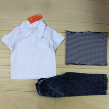 3pcs Fashion Toddler Kids Baby Boy T shirt Top Jeans Pants Scarf Trousers Tee Clothes Outfits