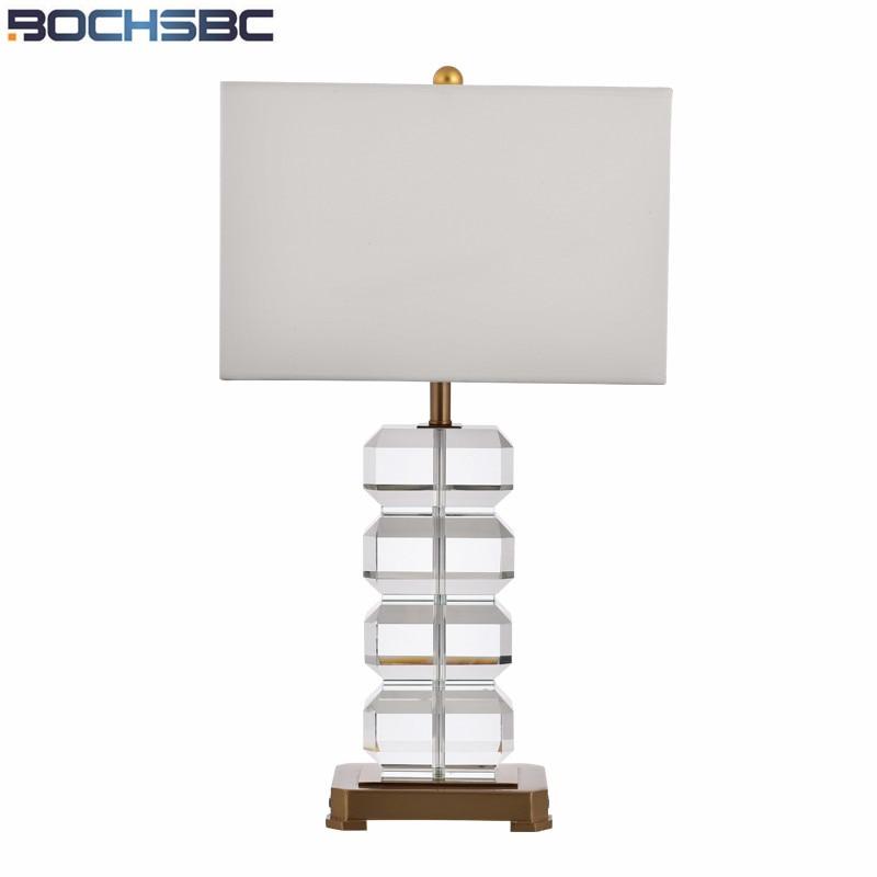 Modern Luxury Crystal Lampara Designer Hotel Villa White Lamp Shades Bedside Lamp for Bedroom Table Lamps H65cm