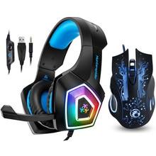 Hunter spider v1 fone de ouvido para jogos, headset estéreo baixo com microfone, luz de led para ps4, xbox one, pc + 5000dpi 6 botões pro mouse de jogo