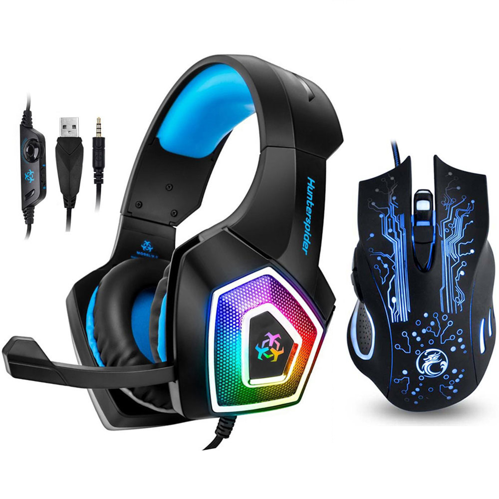 Hunterspider V1 Gaming Headset Stereo Bass Heaphone Mit Mic LED Licht für PS4 Xbox One PC + 5000DPI 6 tasten Pro Gaming Maus image