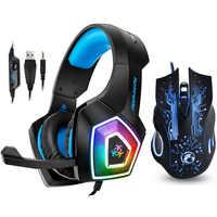 Hunterspider V1 Gaming Headset Stereo Bass Heaphone Con Il Mic HA CONDOTTO la Luce per PS4 Xbox One PC + 5000DPI 6 bottoni Pro Gaming Mouse