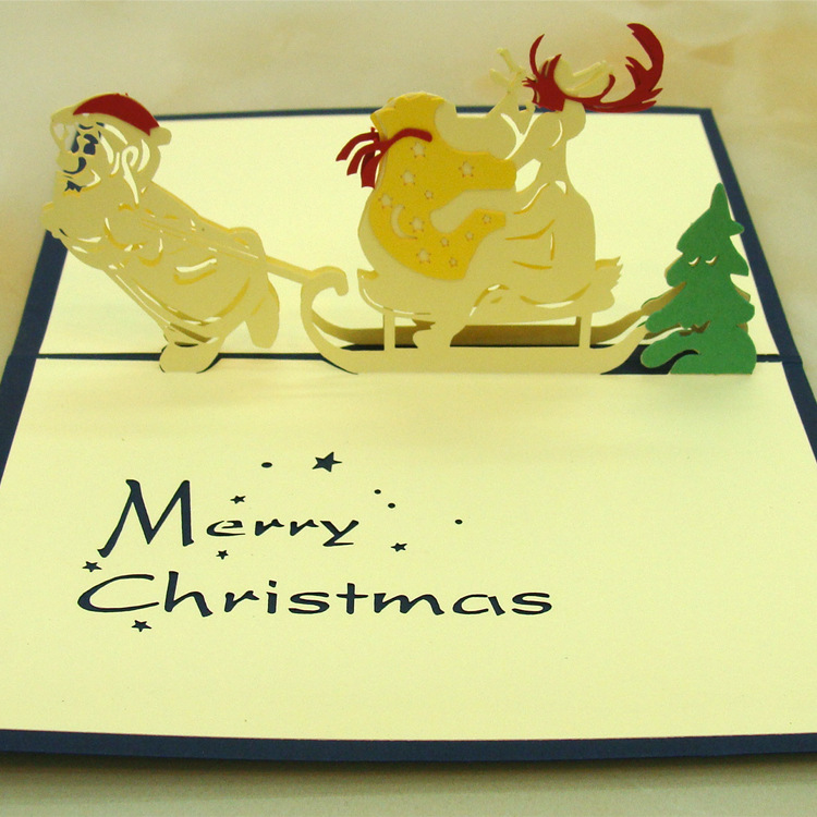 Bands Without Stones 10pcs/lot Laser Cut Wedding Invitations 3d Cubic Sleigh Christmas Greeting Card Cartoon Kids Birthday Cards Jewelry & Watches