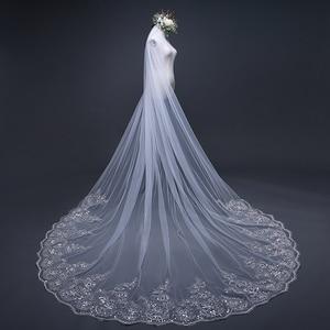 Image 5 - Velo de novia con borde de encaje, velo de novia con borde de encaje blanco marfil de 3 metros, accesorios de boda