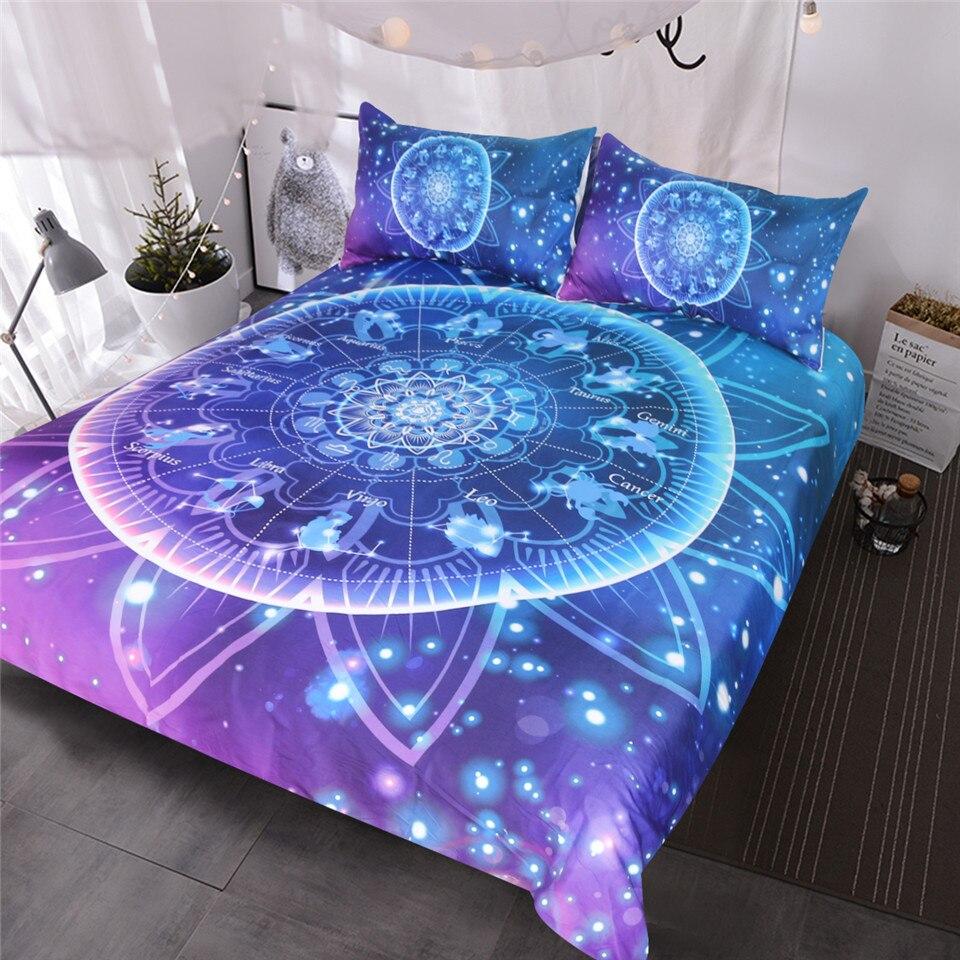 BlessLiving Zodiaque Ensemble De Literie Mandala Lotus 3 pcs Bling Paillettes Galaxy Bourgogne Literie Indien Astrologie Hippie Housse de couette