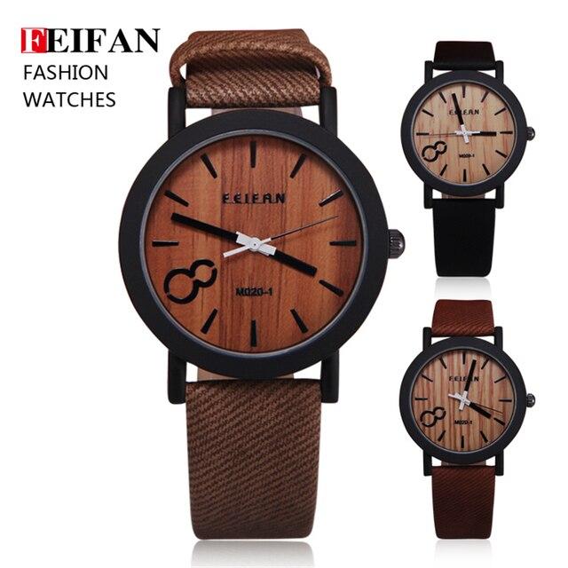 Zegarek męski drewniany FEIFAN skórzana bransoleta różne kolory