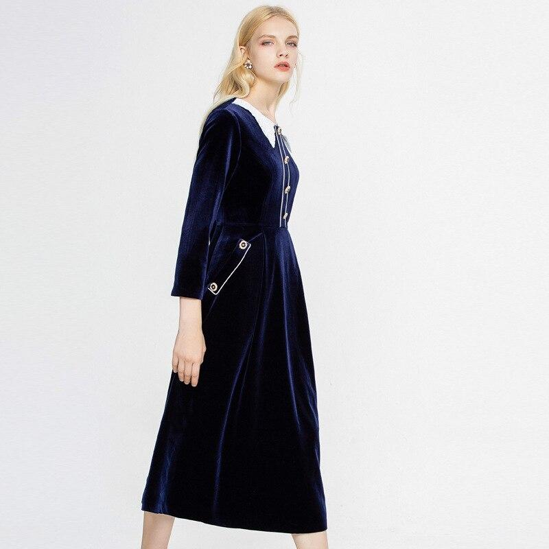 Travail Mi Robe Velours Automne Pan Longue Partie Élégant Vintage Polaire Peter Printemps red Femmes longues En Col Solide Blue Robes Mince 2019 5AjqLR34