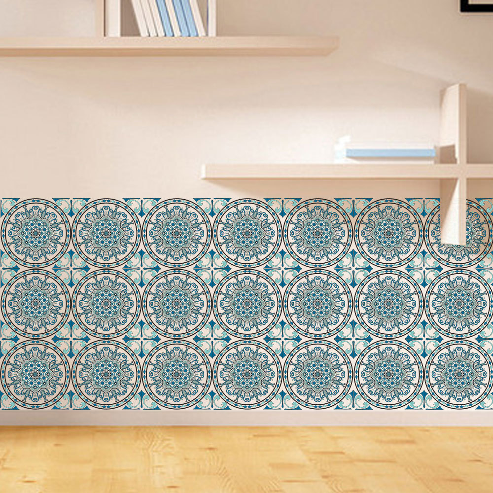 Moroccan Style Retro Tile Floor Sticker For Kitchen PVC Waterproof ...