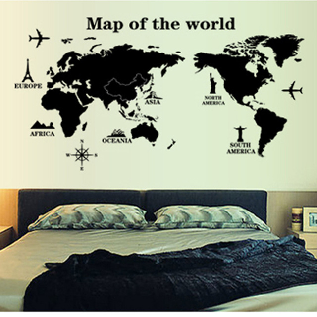 Hot sale diy home decoration world map profile black simple design hot sale diy home decoration world map profile black simple design removable wall stickers wallpaper mural publicscrutiny Image collections