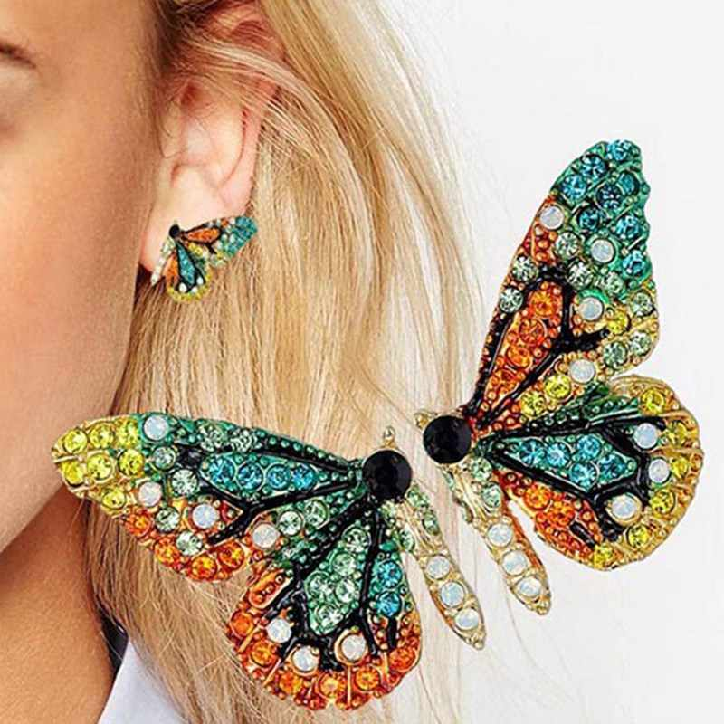 New European and American fashion personality short butterfly ear nail color drill party accessory ear nail