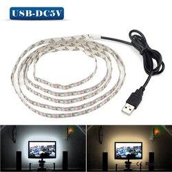5 v 50 cm 5 4 3 2 1 m m m m m Cabo USB Poder Superior CONDUZIU a luz de tira SMD lâmpada 3528 mesa de Natal Decoração Da lâmpada de Iluminação fita Para O Fundo TV