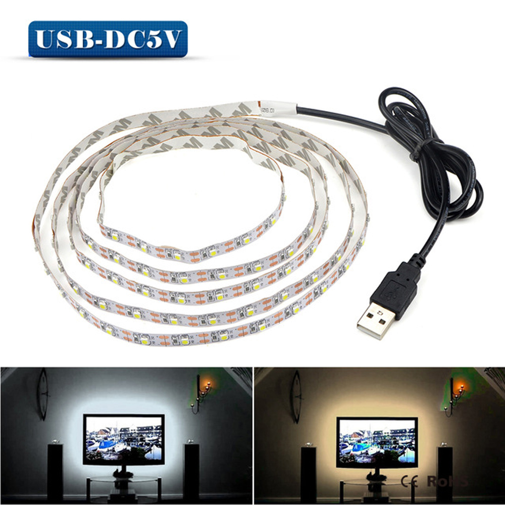 5V 50CM 1M 2M 3M 4M 5M USB Cable Power LED strip light lamp SMD 3528 Christmas desk Decor lamp tape For TV Background Lighting