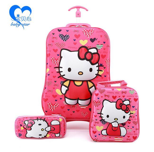 ФОТО 2016  fashion luggage  6D kids luggage with wheels  EVA hello kitty luggage sets  (suitcase+Lunch box+ pencil box) kids gift