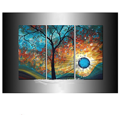 hand painted modern tree sun moon canvas art decoration oil painting on canvas 3pcs wall. Black Bedroom Furniture Sets. Home Design Ideas