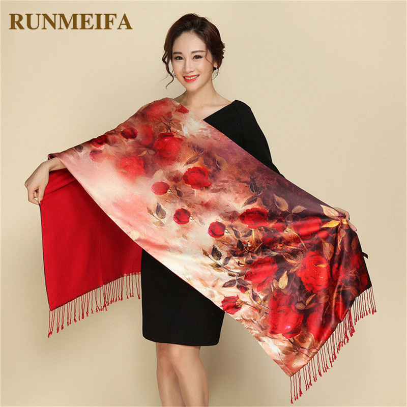 Luxury Winter Warm Flower Print Silk   Scarves   Double Sides Cashmere Wool Pashmina Tippet Shawls and   Wraps   Elegant Female Foulard