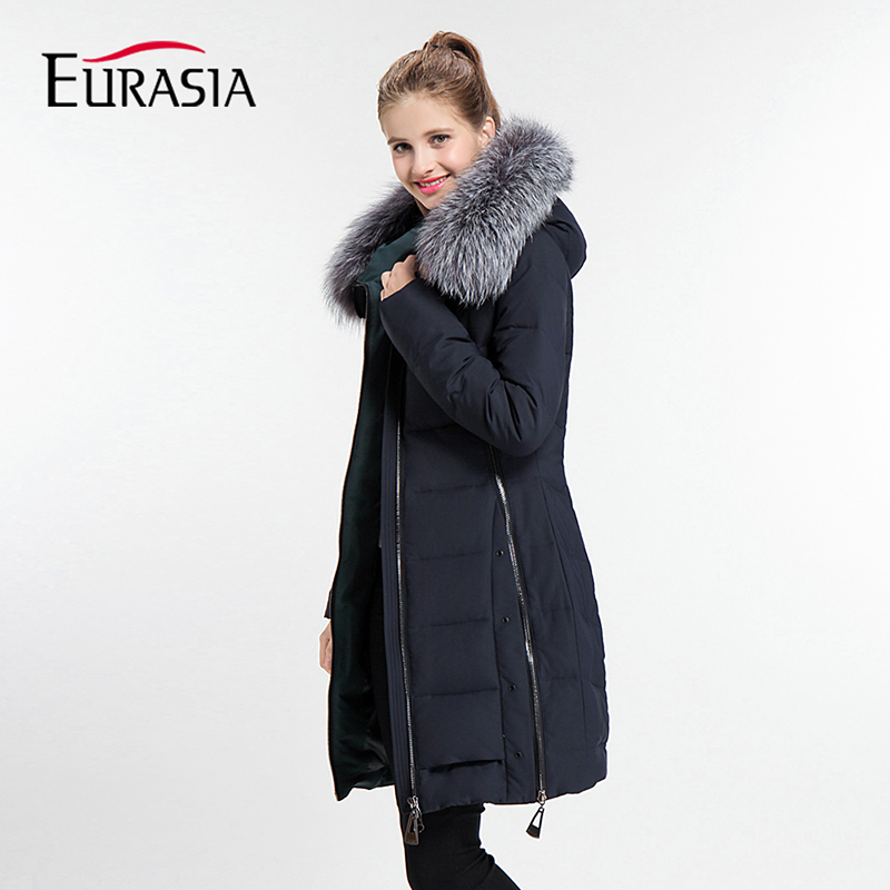 EURASIA Brand 2018 New Winter Coat Full Solid Women Jacket Hood Design Warm Cotton Thick   Parka   Real Fur Collar Outerwear Y170017