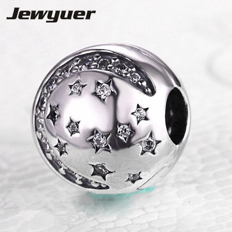 Silver Twinkling Night Clip clasp charms for jewelry making fit 925 sterling silver stars beads bracelets DIY fine jewelry KT035Silver Twinkling Night Clip clasp charms for jewelry making fit 925 sterling silver stars beads bracelets DIY fine jewelry KT035