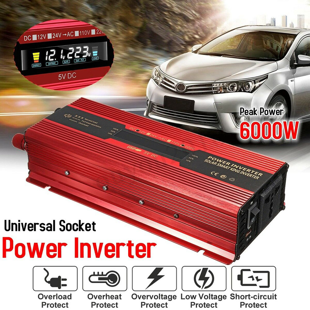 LCD 6000 W onduleur solaire DC12V-24V 50 HZ convertisseur de puissance Booster pour voiture onduleur ménage bricolage voiture onduleur Cigarette nouveau