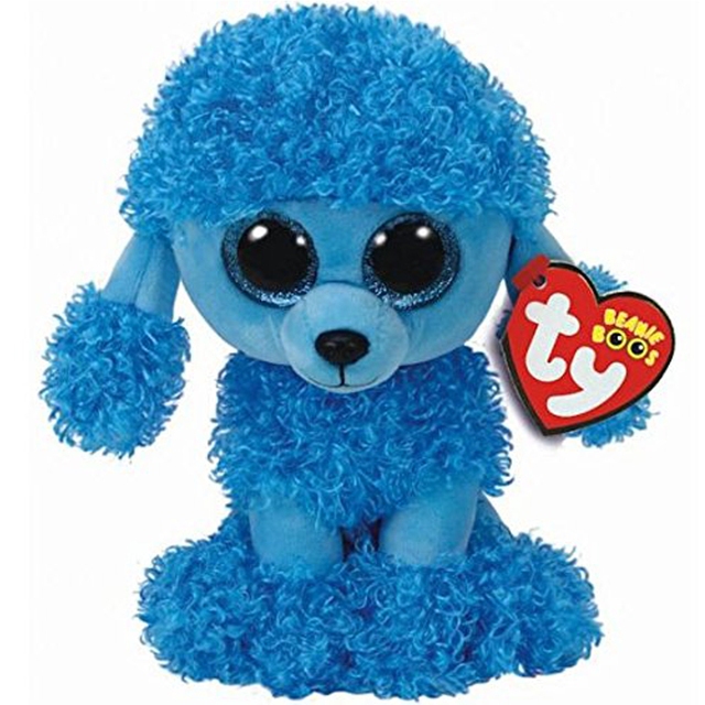 """Pyoopeo Ty Beanie Boos 6"""" 15cm Mandy the Blue Poodle Dog"""