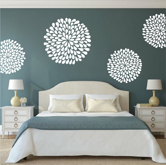 Flor arte adhesivos amapola decalques de pared para for Adhesivos pared dormitorio