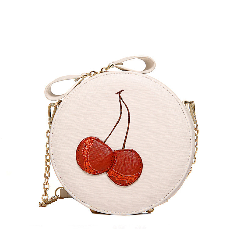 New 2017 Lolita Style Chain crossbody bag lovely women messenger bags round flap bag red cherry