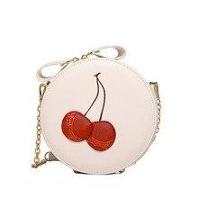 Neue 2017 Lolita Stil Kette crossbody-tasche schöne frauen messenger bags runde klappe tasche rote kirsche stickerei design kleine tasche