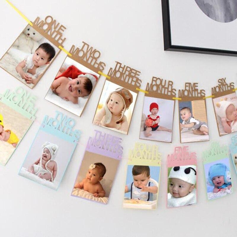 1 Set Baby Dusche Decor Foto Rahmen Pull Flagge Baby Wachstum Track Kraft Papier Baby Bild Rahmen Hause Foto Wand Dekorationen Hohe QualitäT Und Preiswert