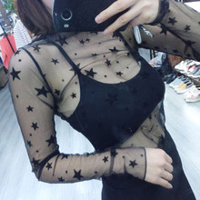 Fashion 2017 New Lace Mesh Crop Top Women Thin Transparent Black Fishnet Long Sleeve T-Shirt Ladies Summer Beach Wear Shirts(China)
