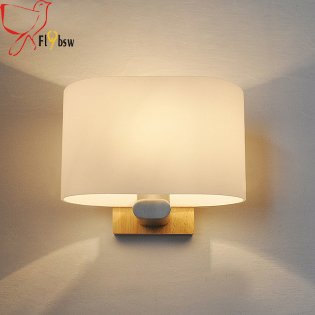 Moderne Kurze Holz Wandleuchte LED Wandleuchten Milchglas ...