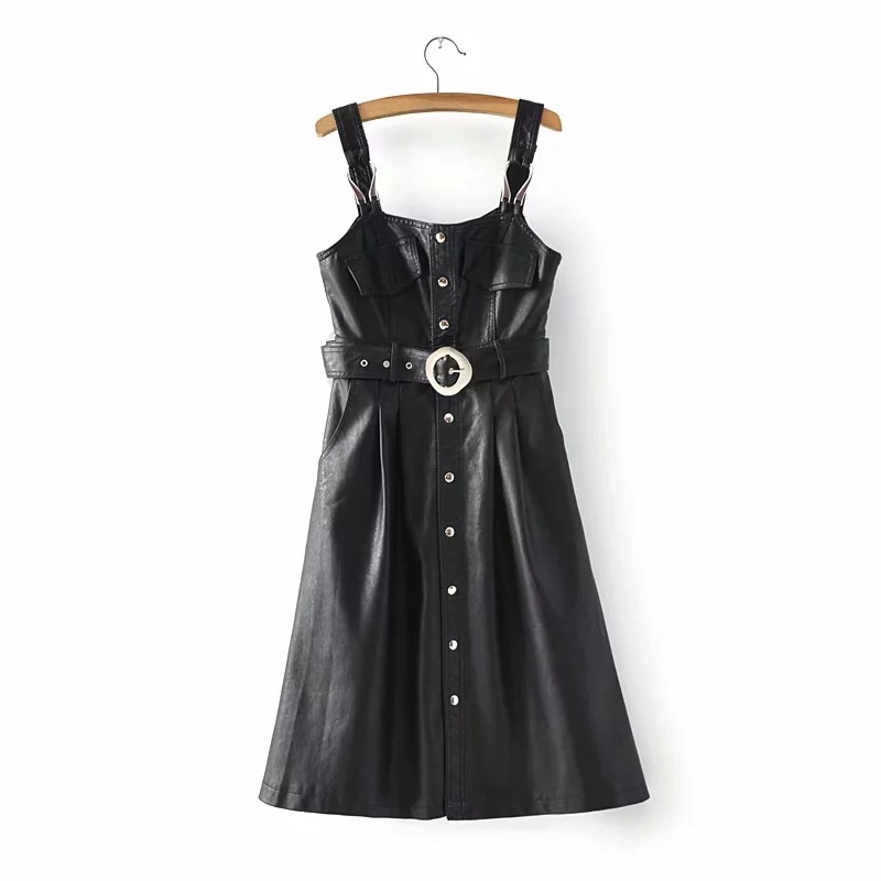 Autumn Winter New women's Sling   Leather   Skirt Dress PU Manufacturers   Leather   Jacket Women