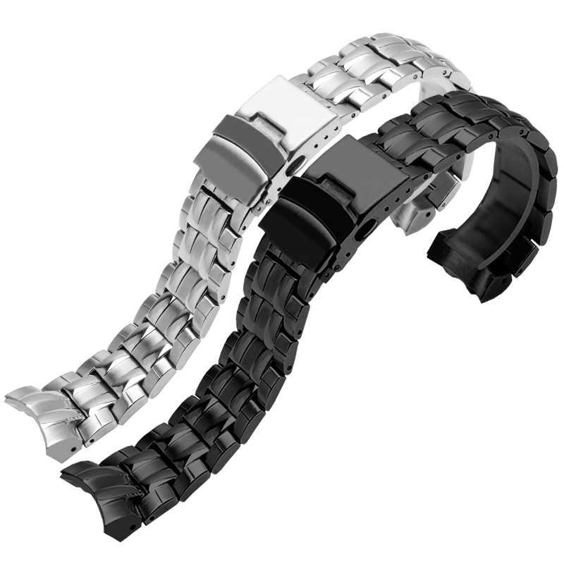 Correa de acero de precisión PEIYI adaptada Casio correa de reloj de acero resistente al agua correa de hombre EF-535D-7A Cadena de reloj de plata negro