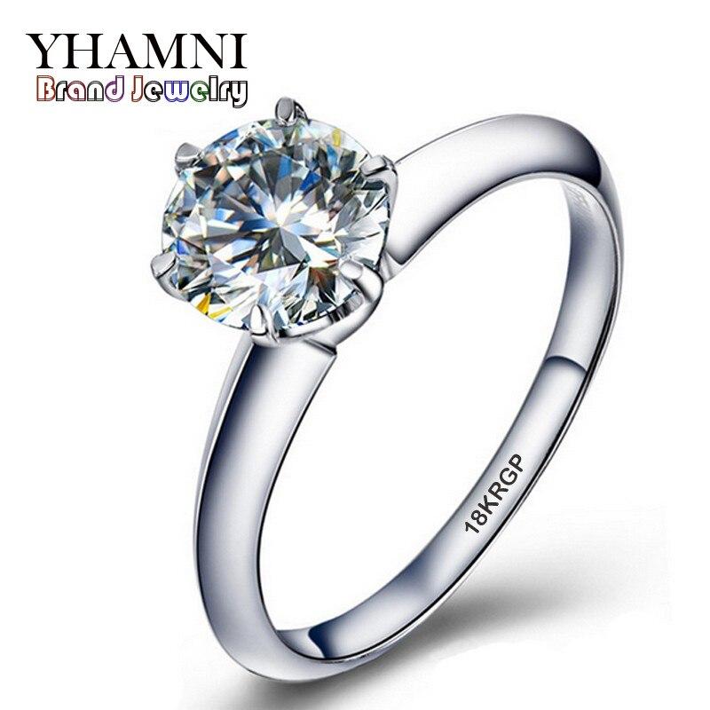 White Gold Filled Rings Set 1 Carat Sona Cz Diamant Engagement Rings 18krgp Gold Wedding Rings For Women Yjr018
