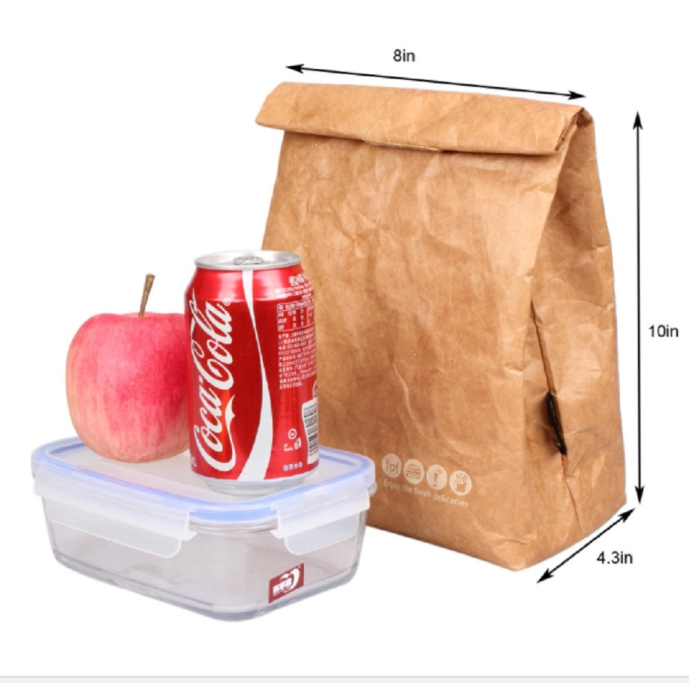 6L Lunch Bags Ice pack kraft paper bag Thermal For Women Kids Food Picnic Multifunction Cooler Box Insulated Storage Container