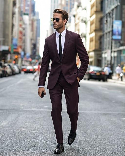 (Jacket+Pants) Tuxedo Burgundy Suit Jacket Homecoming Suits Wedding Suits For Men Latest Coat Pant Designs Costume Homme