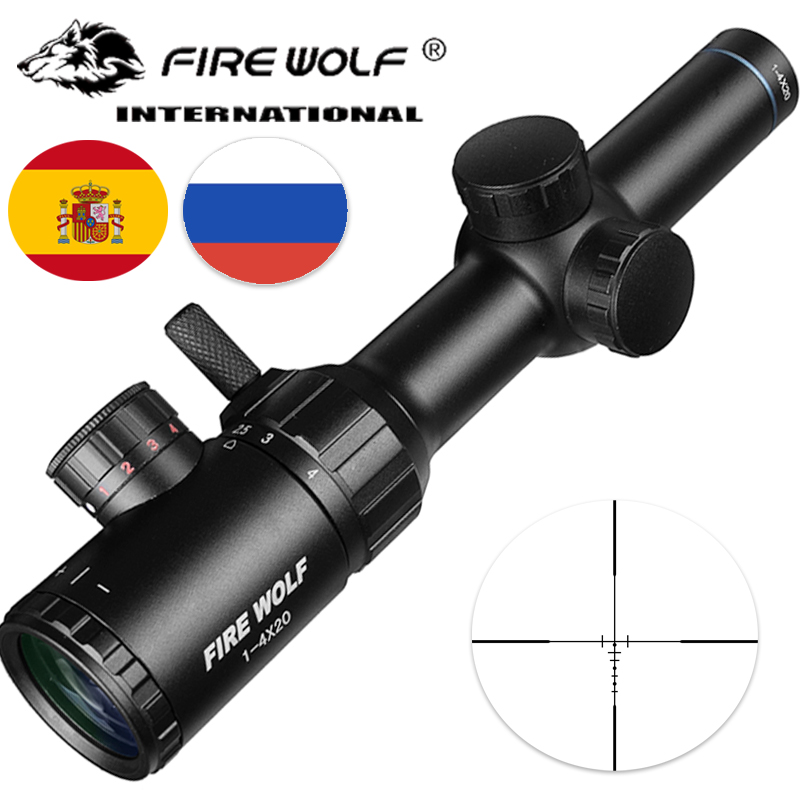 1-4x20 portée de fusil vert rouge illuminé lunette de visée télémètre réticule Caza portée de fusil fusil à Air comprimé vue optique chasse