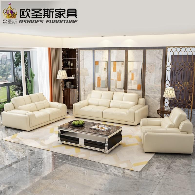 Light Color Big Fashion Modern Italian Leather Sofa Model