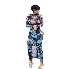 Plus Size Sexy Sheer Mesh Dress Women Fashion Mock Neck Floral Printed Long Sleeve See Through Dress Midi Bodycon Party Dress недорого