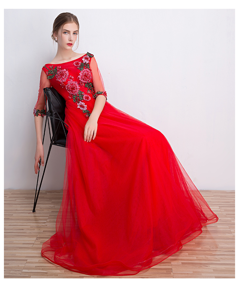 3c678f00a25b Red Evening Dress Chinese Traditional Embroidery Cheongsam Long ...