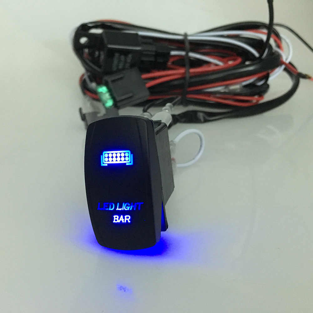 medium resolution of led light bar rocker on off switch with relay wiring harness kit 12v 40a relay