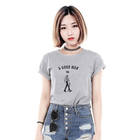 2017 GreyT Shirt Women Brand New Summer Womens Short Sleeve Tumblr Tops Cropped Feminino Fashion For