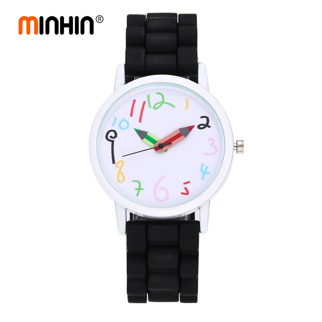 MINHIN Hot Selling Students Watch Silicone Band Strap Quartz Wristwatches Pencil Shape...