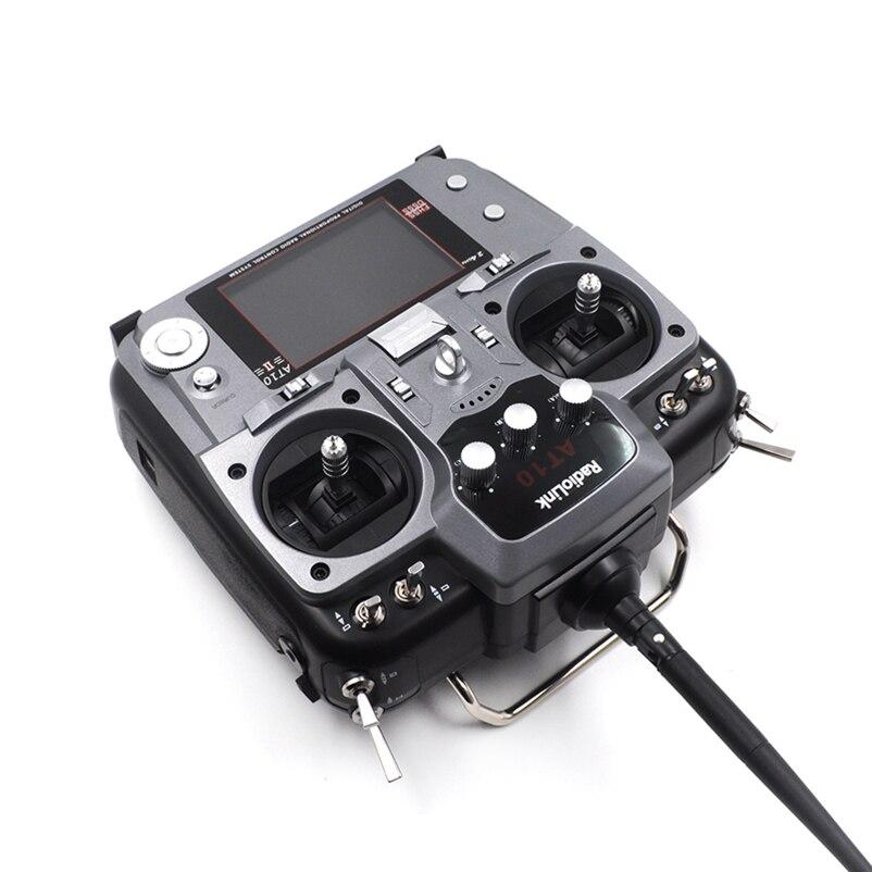 Oyuncaklar ve Hobi Ürünleri'ten Parçalar ve Aksesuarlar'de Radyolink AT10 II 2.4 Ghz 10CH RC Verici ile R10DII Alıcı PRM 01 Voltaj Dönüş Modülü Pil RC dört pervaneli helikopter'da  Grup 3