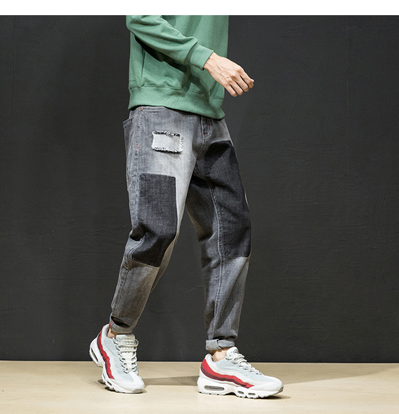 KSTUN Jeans Men Japan Harem Pants Ripped Patched Hip hop Joggers Distressed Biker Jeans Grey Stretch Casual Denim Trousers Boys 13