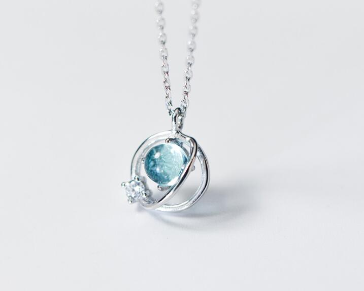 Authentic 100% REAL. 925 Sterling Silver FINE Jewelry Blue Planet Universe Pendant Necklace GTLx1750